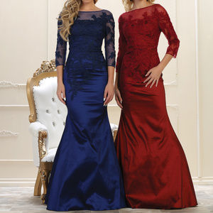 3/4 Sleeve Embroidered Long Formal Evening Gown